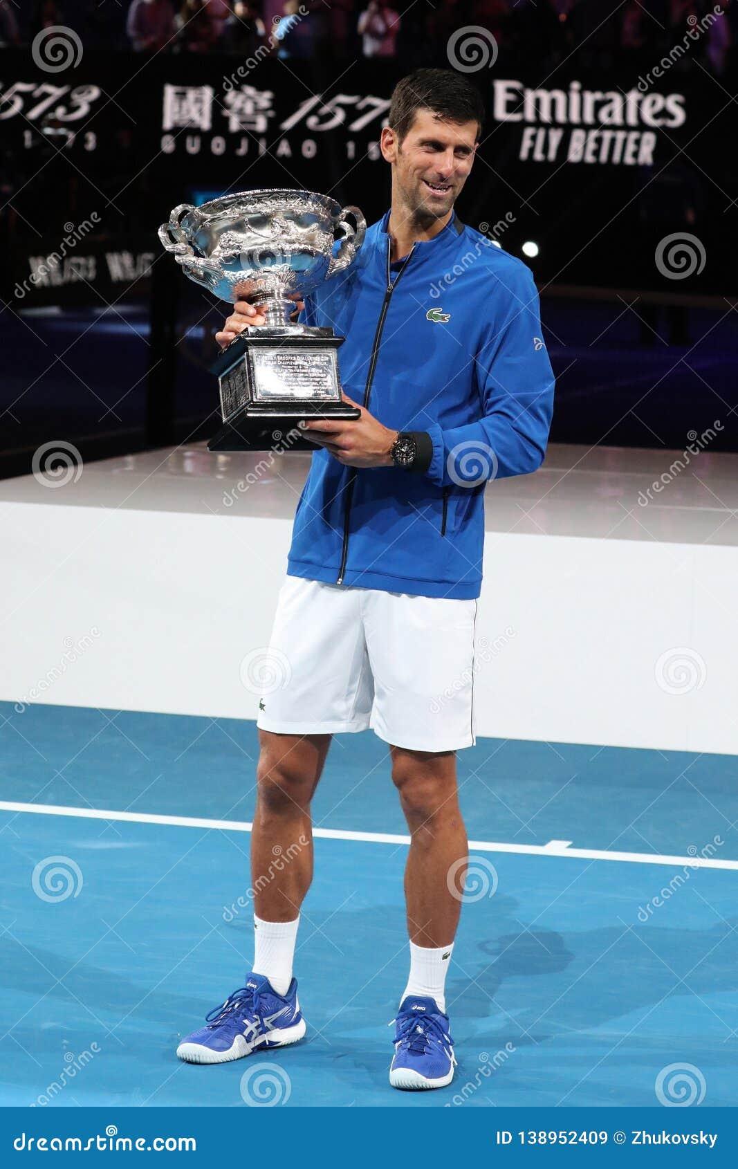 8fd2f3ffc9d701 ... 2019  2019 Australian Open champion Novak Djokovic of Serbia during  trophy presentation after men`s final match at Rod Laver Arena in Melbourne  Park