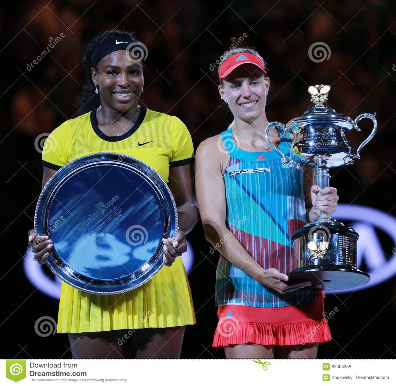 Australian Open 2016 finalist Serena Williams L and Grand Slam champion Angelique Kerber of Germany during trophy presentation
