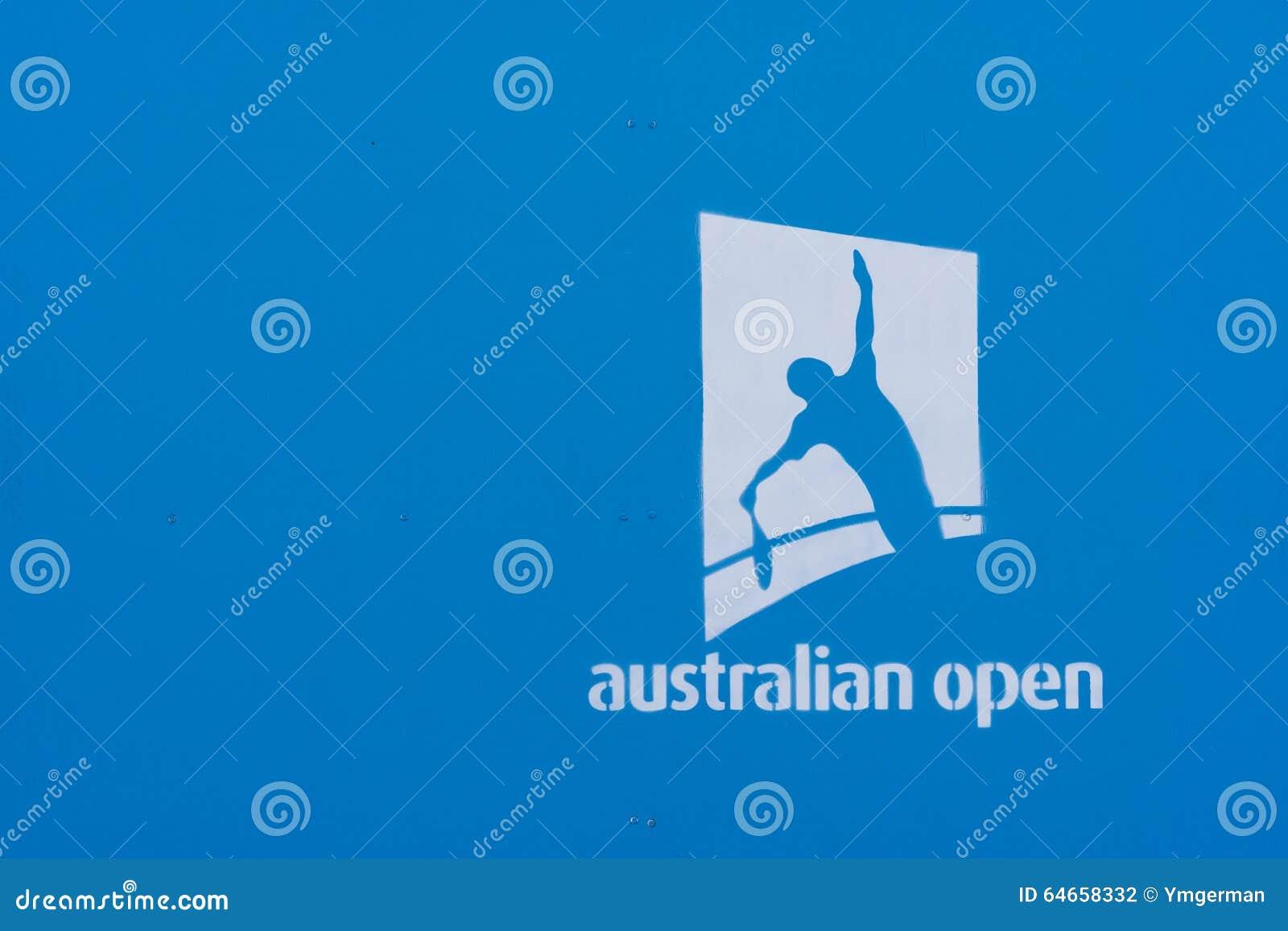 australian open logo on a blue wall editorial photography