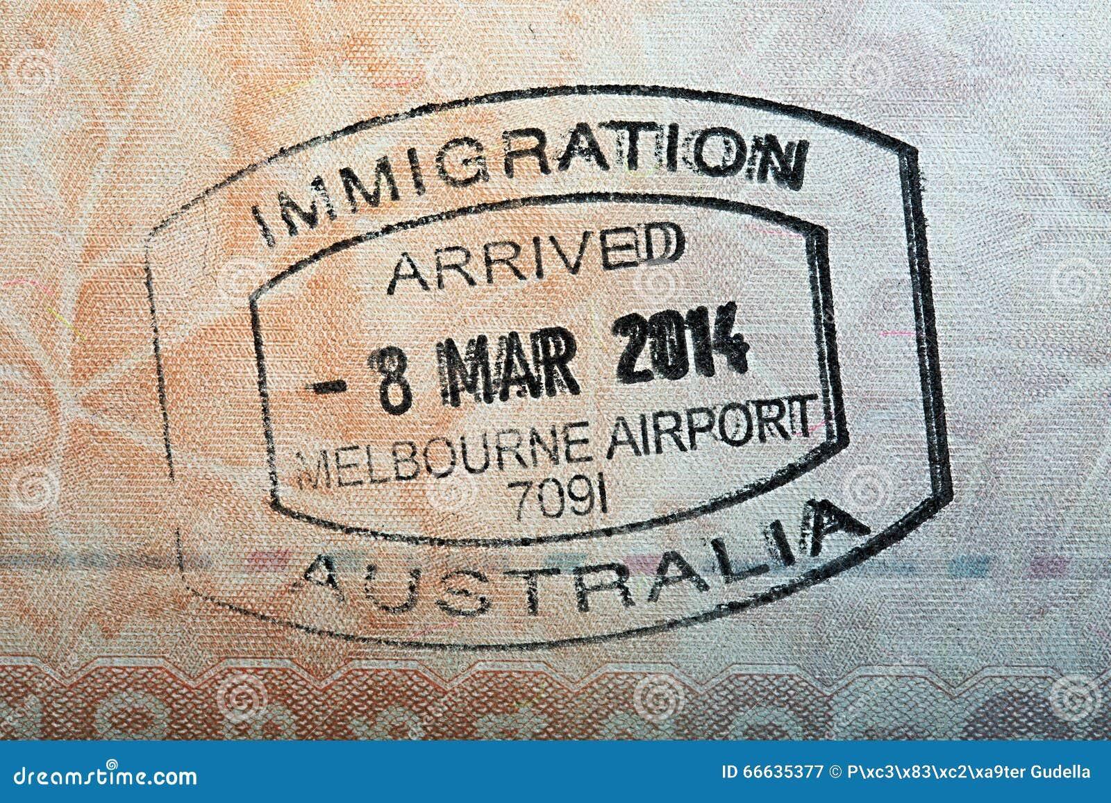 Australian Passport Stamp Stock Image Of Arrival