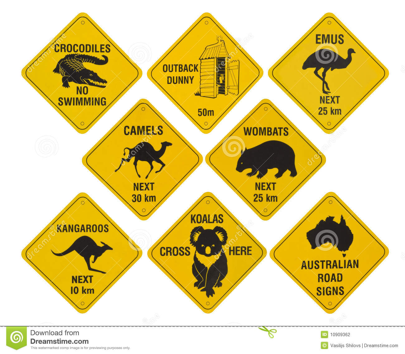Australian Road Signs Collection Stock Photography  Image: 10909362