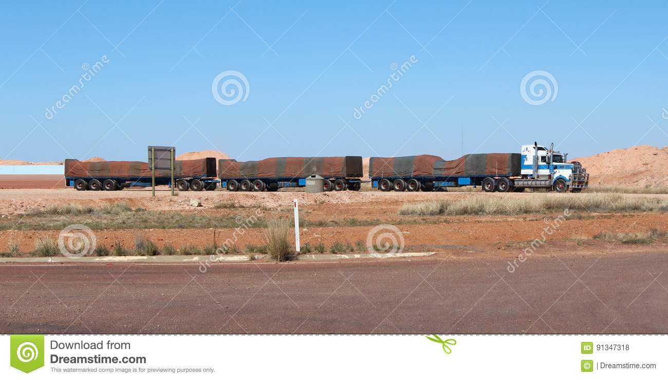 Download Australian Road Train With Green And Brown Striped Tarpaulin In Full-length. Stock Photo - Image of cargo, desert: 91347318