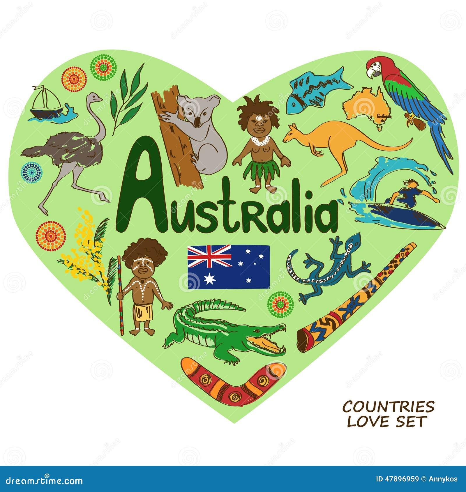 Australian symbols in heart shape concept stock vector australian symbols in heart shape concept buycottarizona Gallery