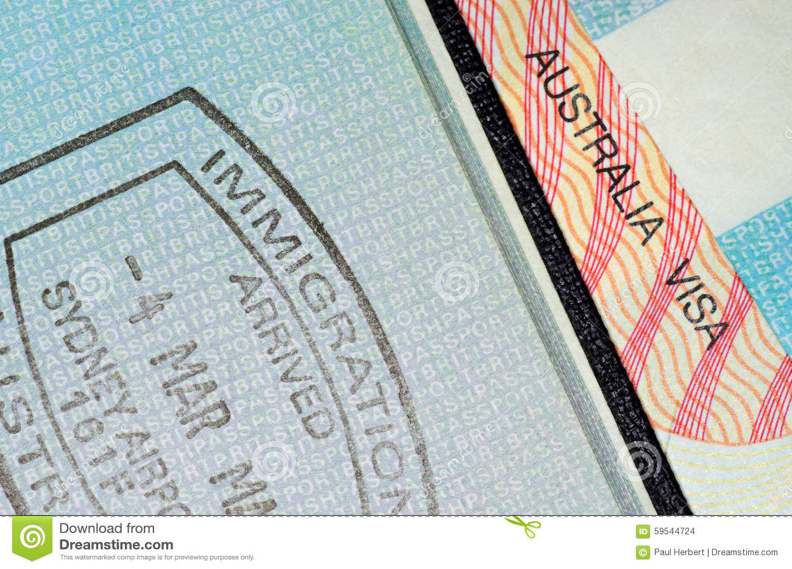 Australian visa and immigration stamped passport