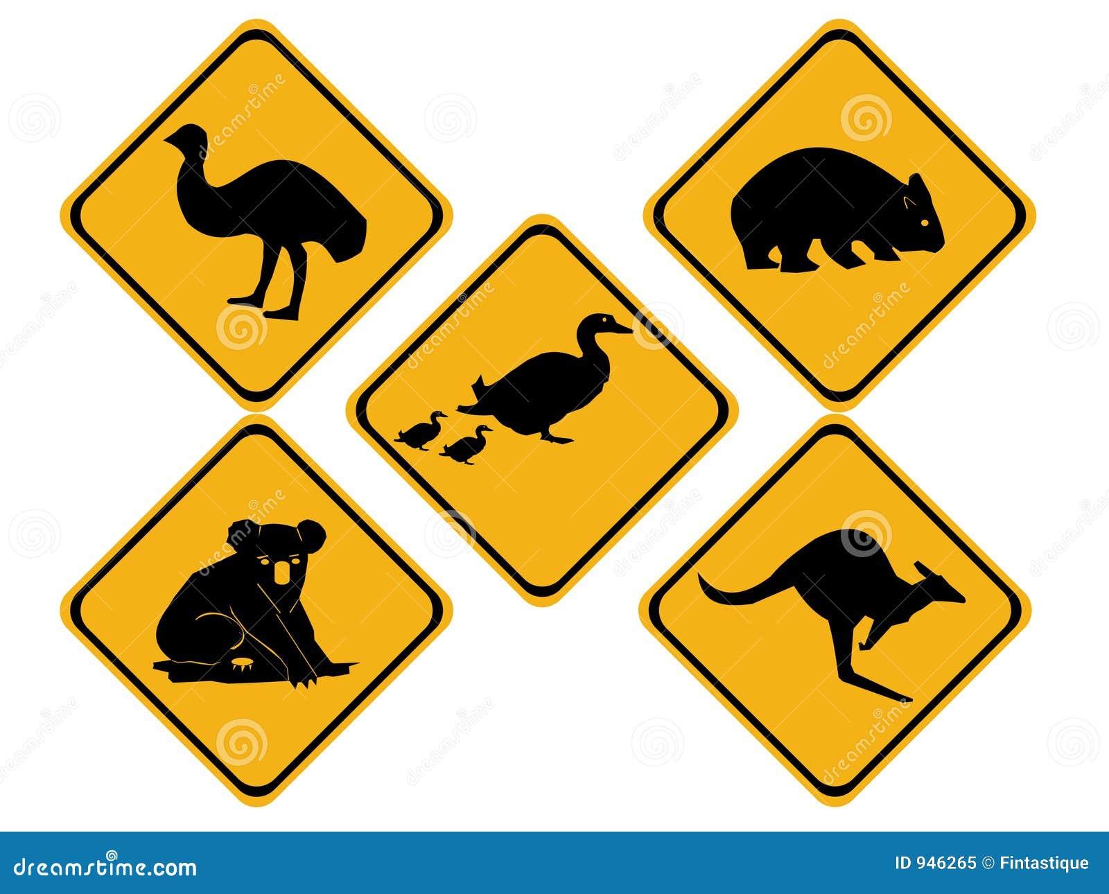 Australian wildlife road signs royalty free stock photo for Gelbe tafeln