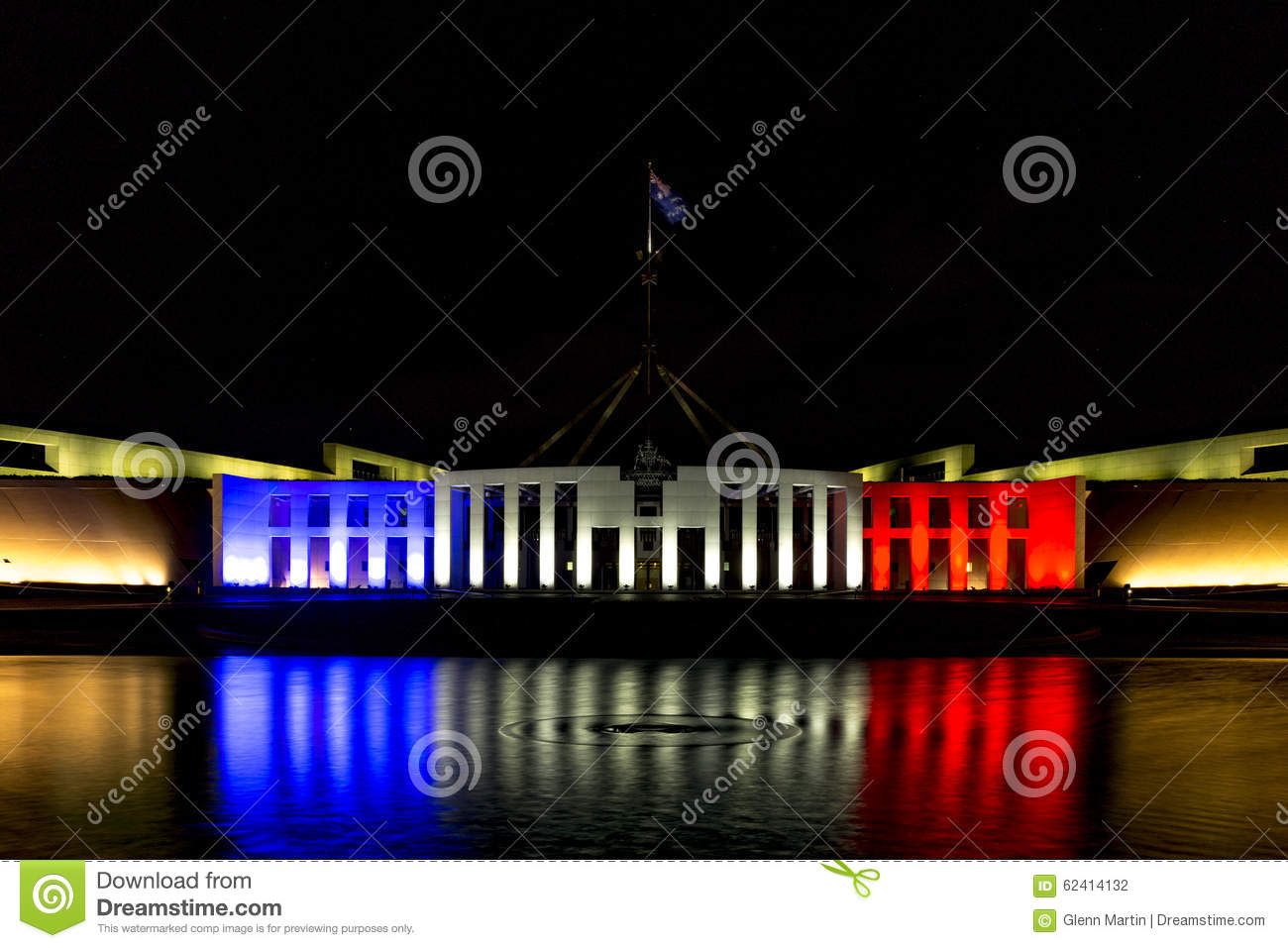 Australias Parliament House in blue, white and red