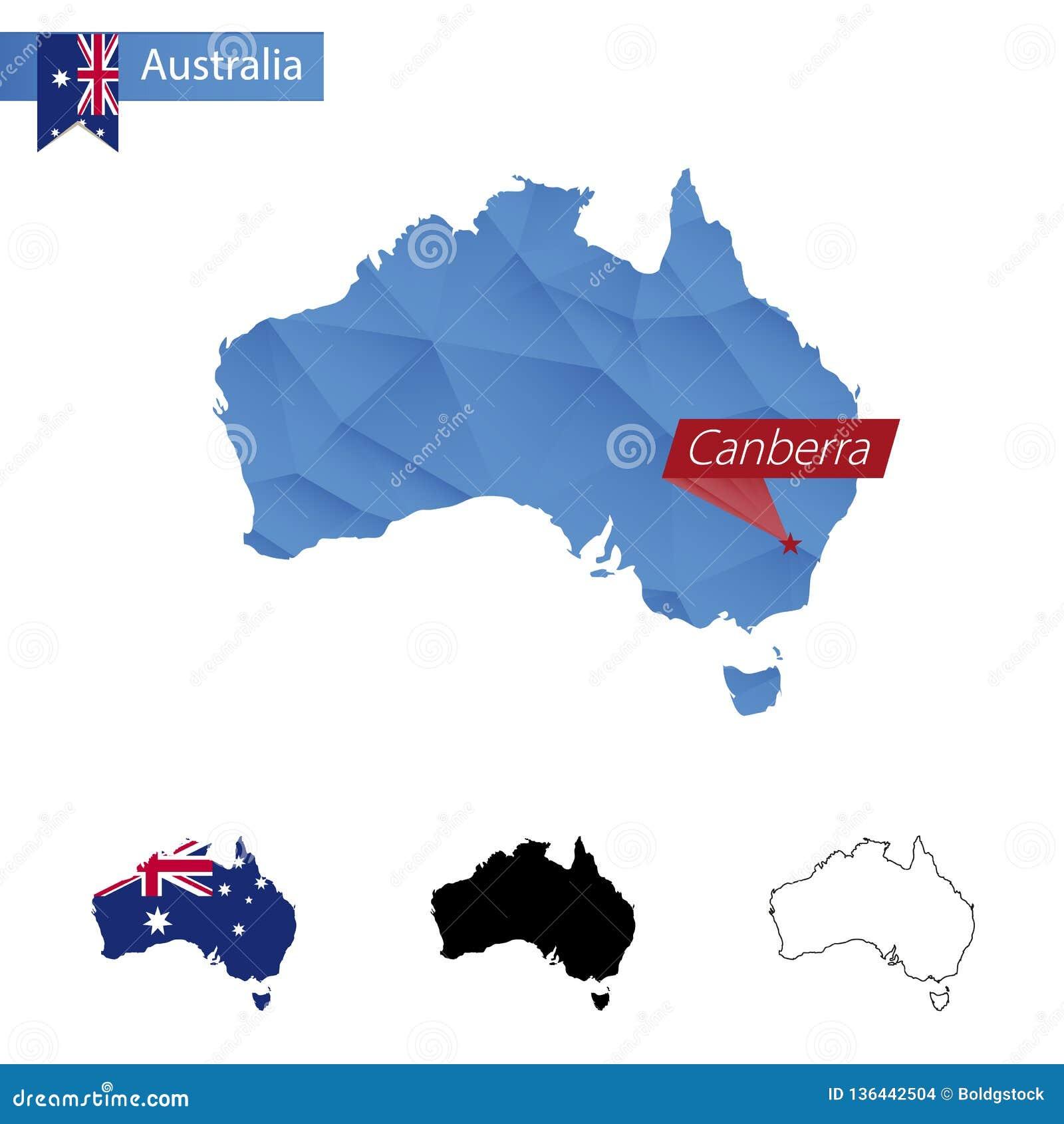 Australien blå låg Poly översikt med huvudstad Canberra