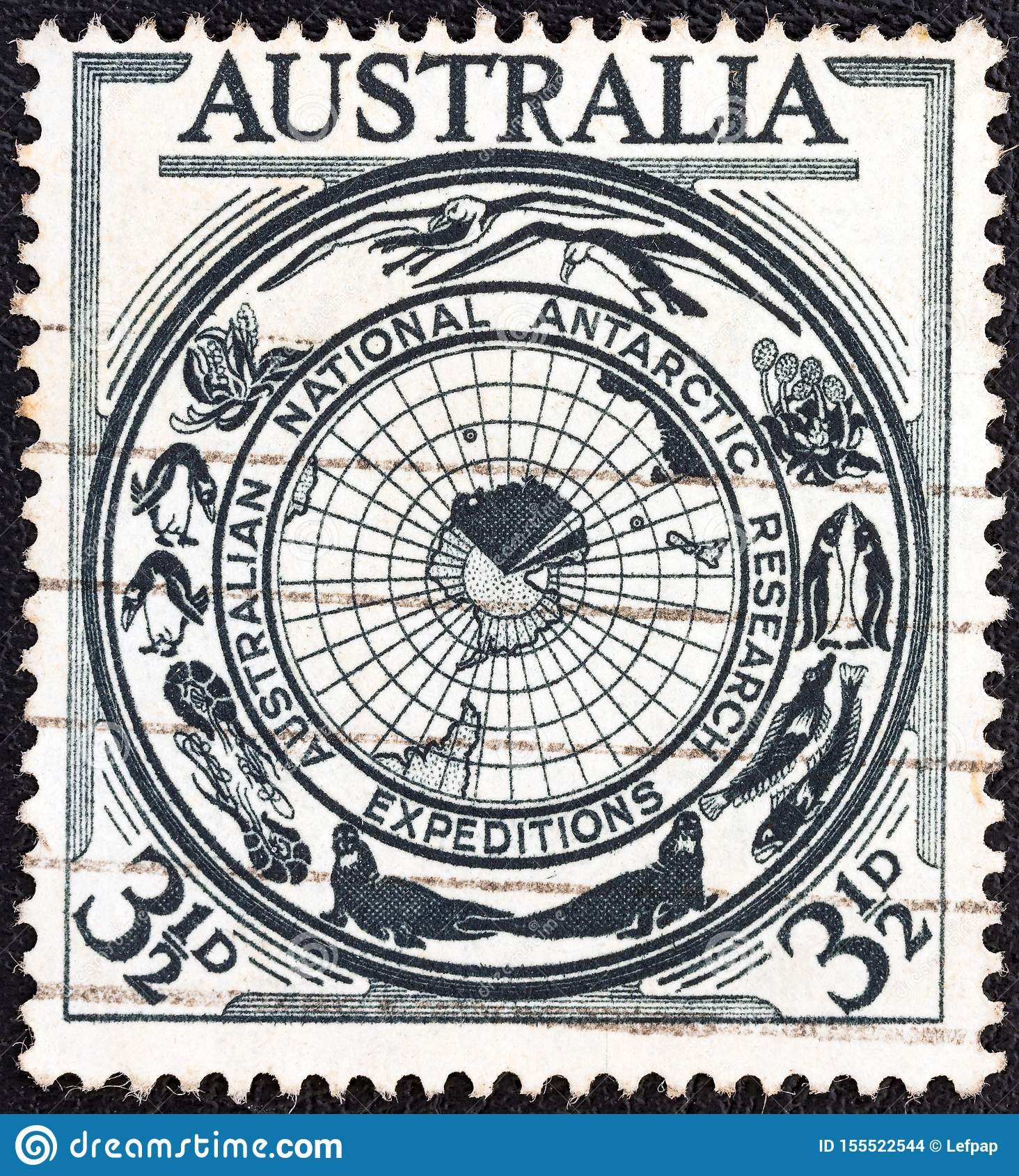AUSTRALIEN - CIRCA 1954: Ein Stempel, der in Australien gedruckt wird, zeigt Gebietsausweis, circa 1954