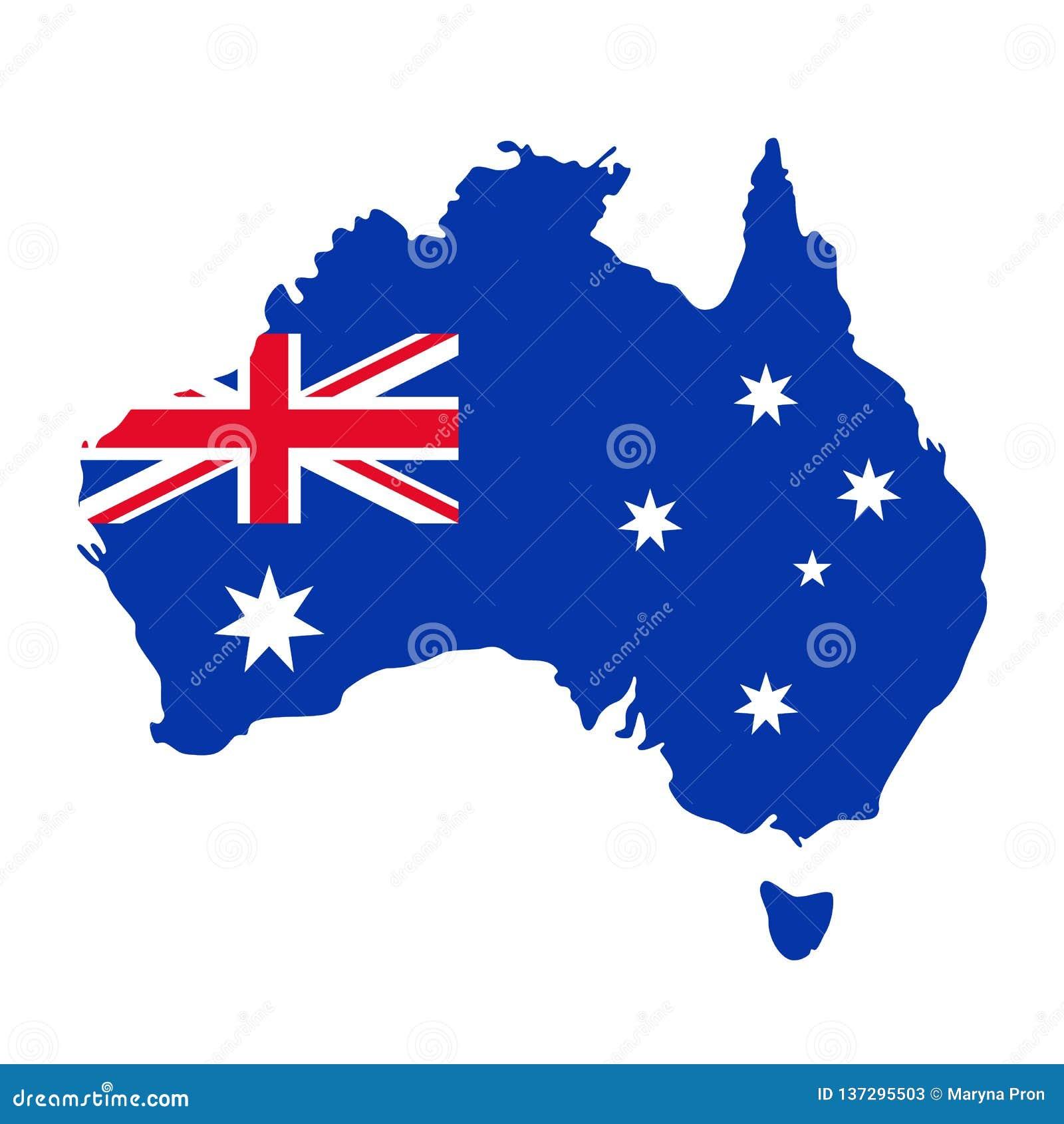 Australien-Karte Mit Markierungsfahne Auch Im Corel