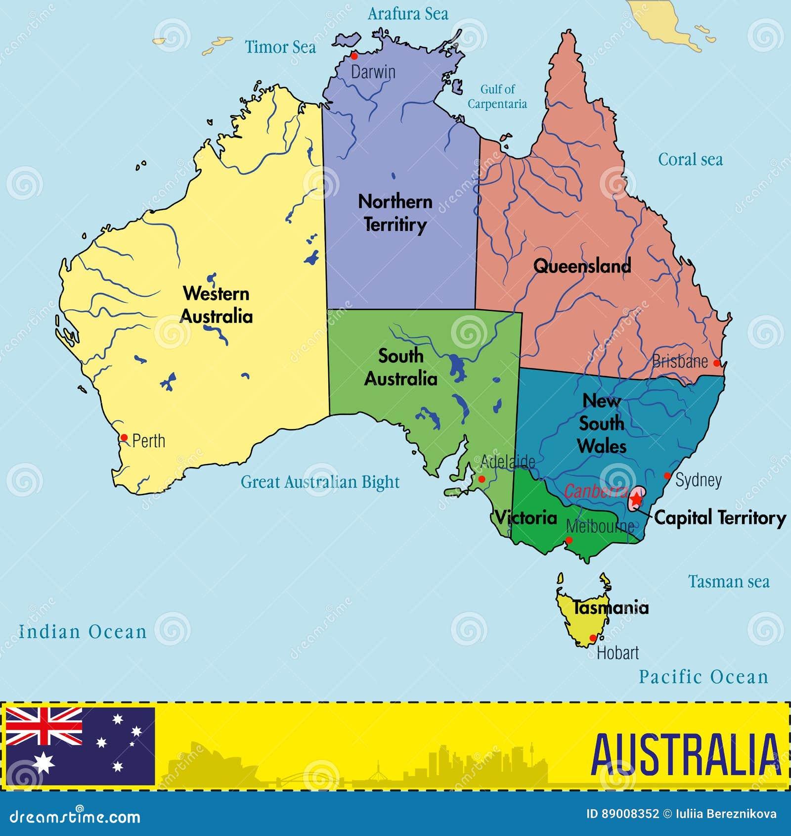 Australien Karte Mit Regionen Und Ihren Hauptstadten Vektor