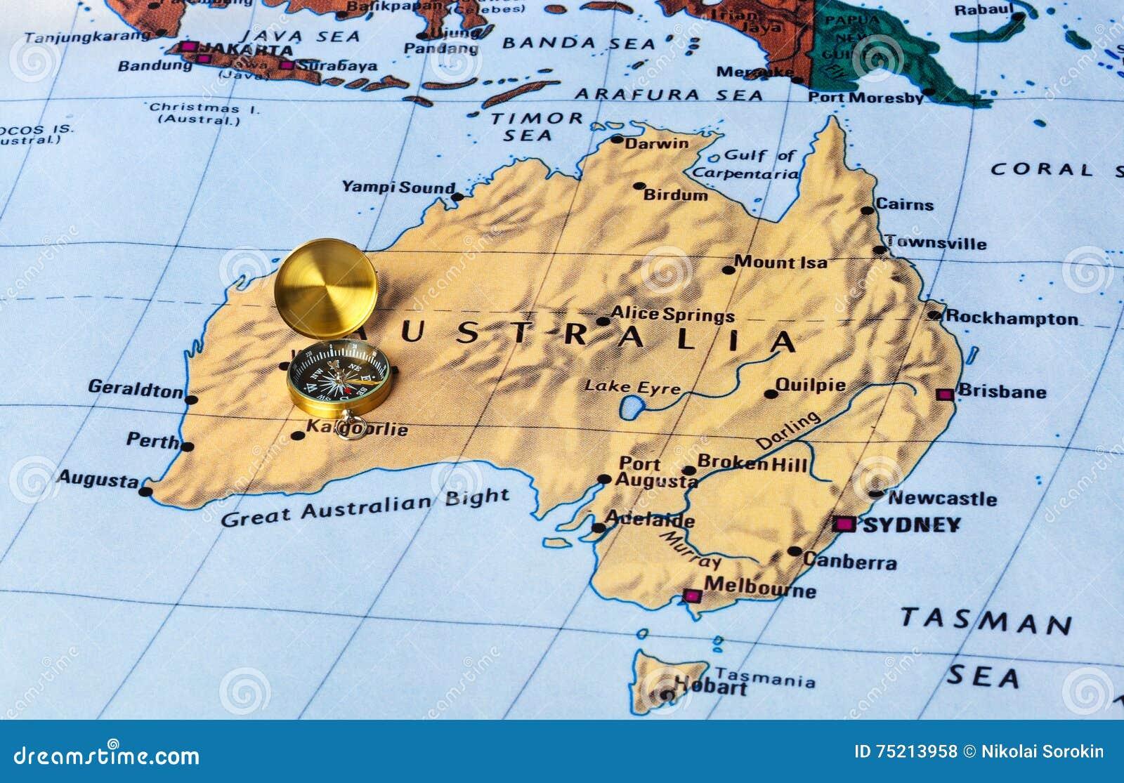 Karte Australien Und Umgebung.Australien Karte Und Kompaß Stockfoto Bild Von Umgebung