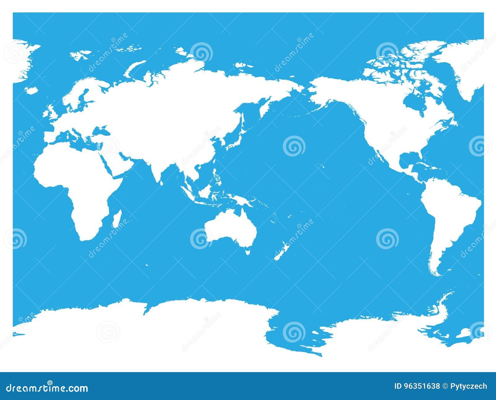 Australien och Stilla havet centrerad världskarta Vit kontur för hög detalj på blå bakgrund också vektor för coreldrawillustratio