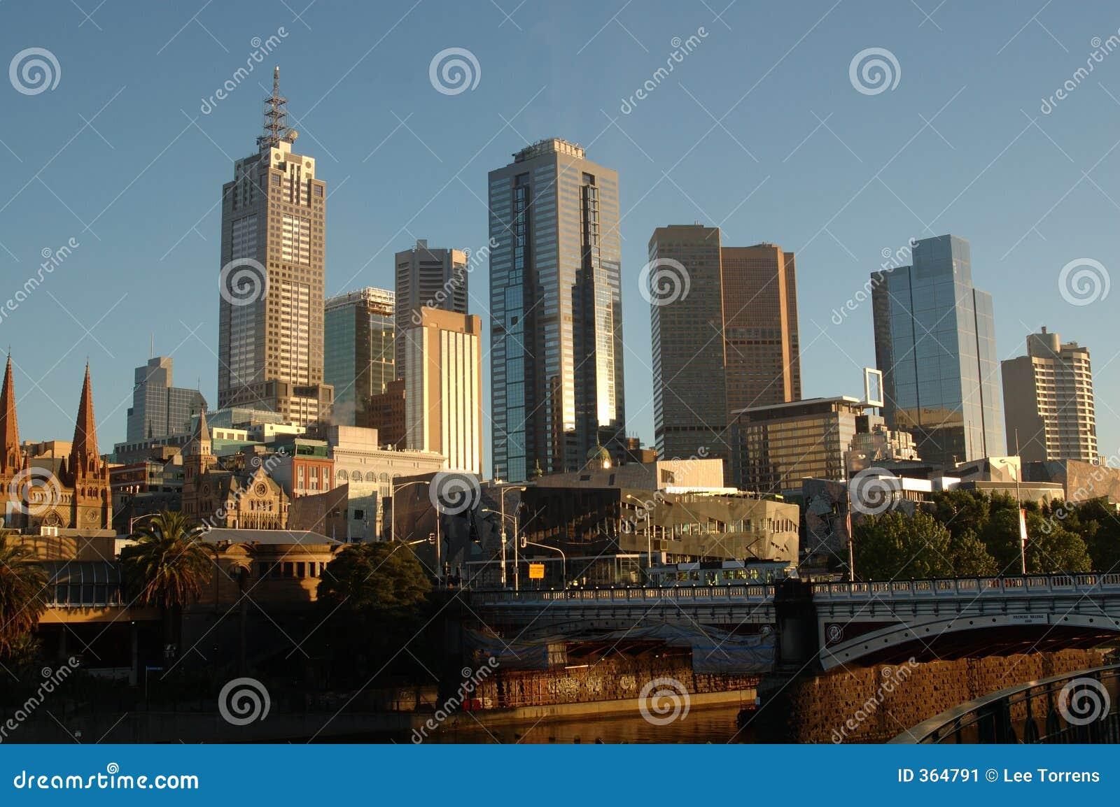 Australien stadsmelbourne soluppgång