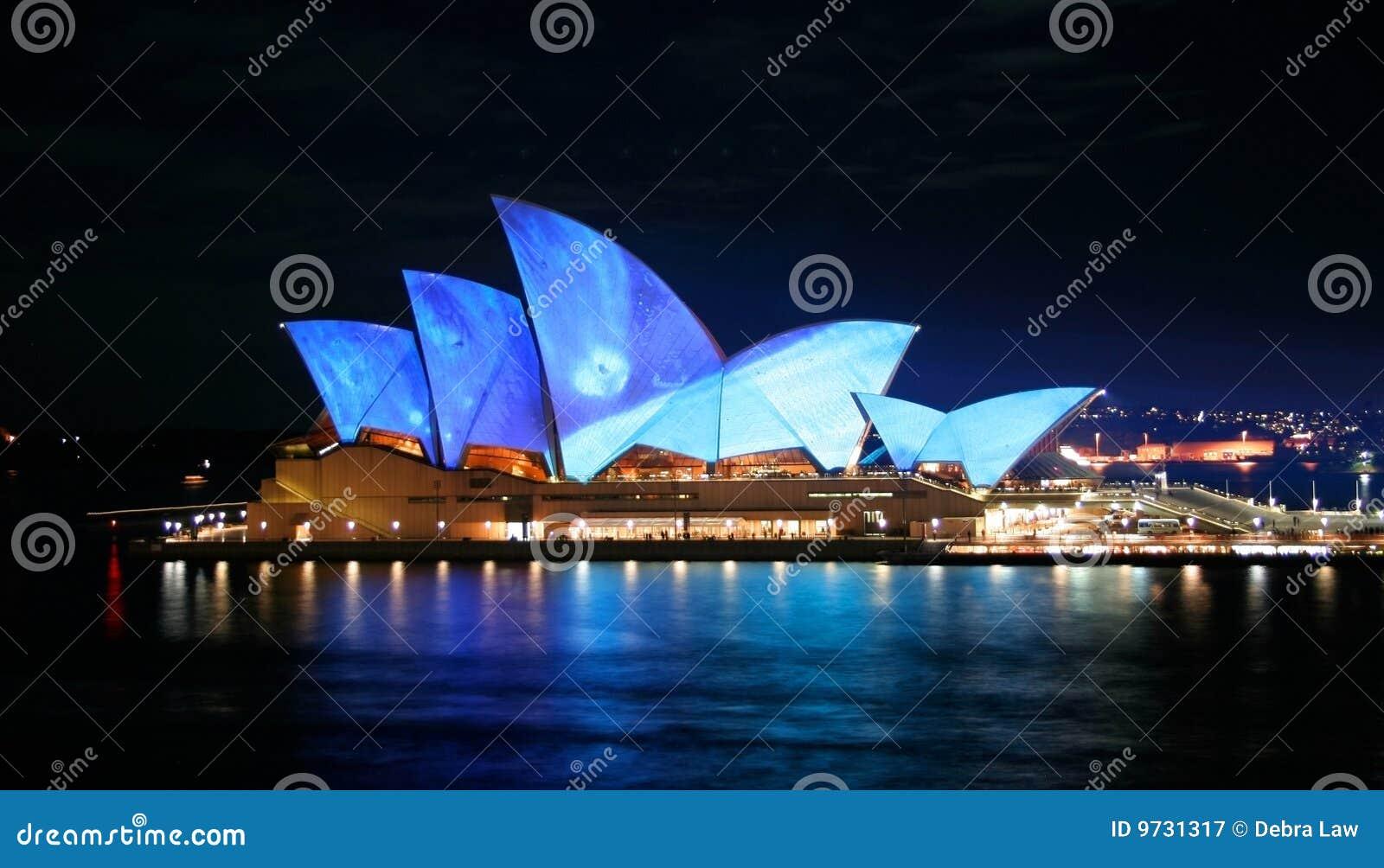 Australien tänder det blåa huset operan sydney