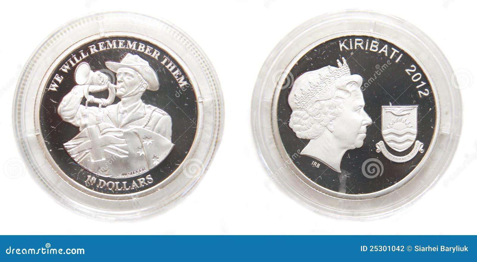 Australien Und Kiribati 10 Dollar Silbermünze Stockfoto Bild Von