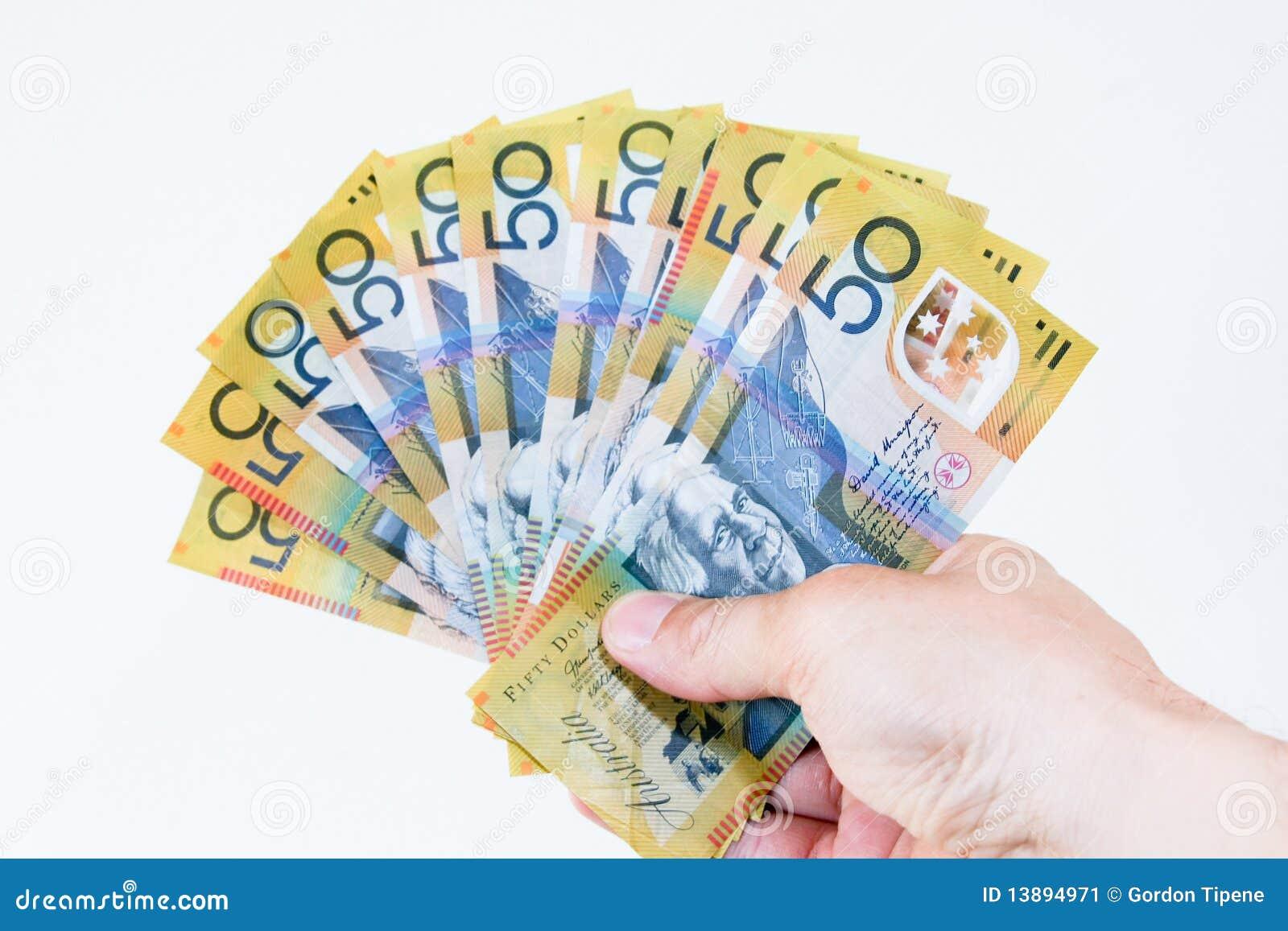 Australiensisk för handanmärkningar för dollar femtio spread
