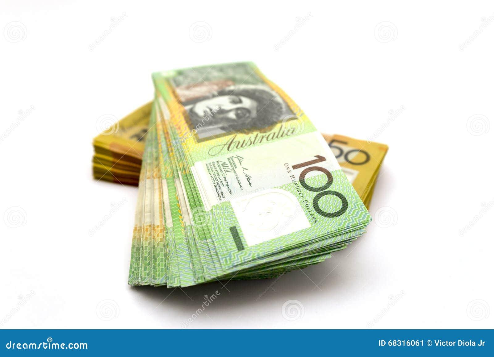 Australier hundra dollarräkningar och femtio dollarräkningar