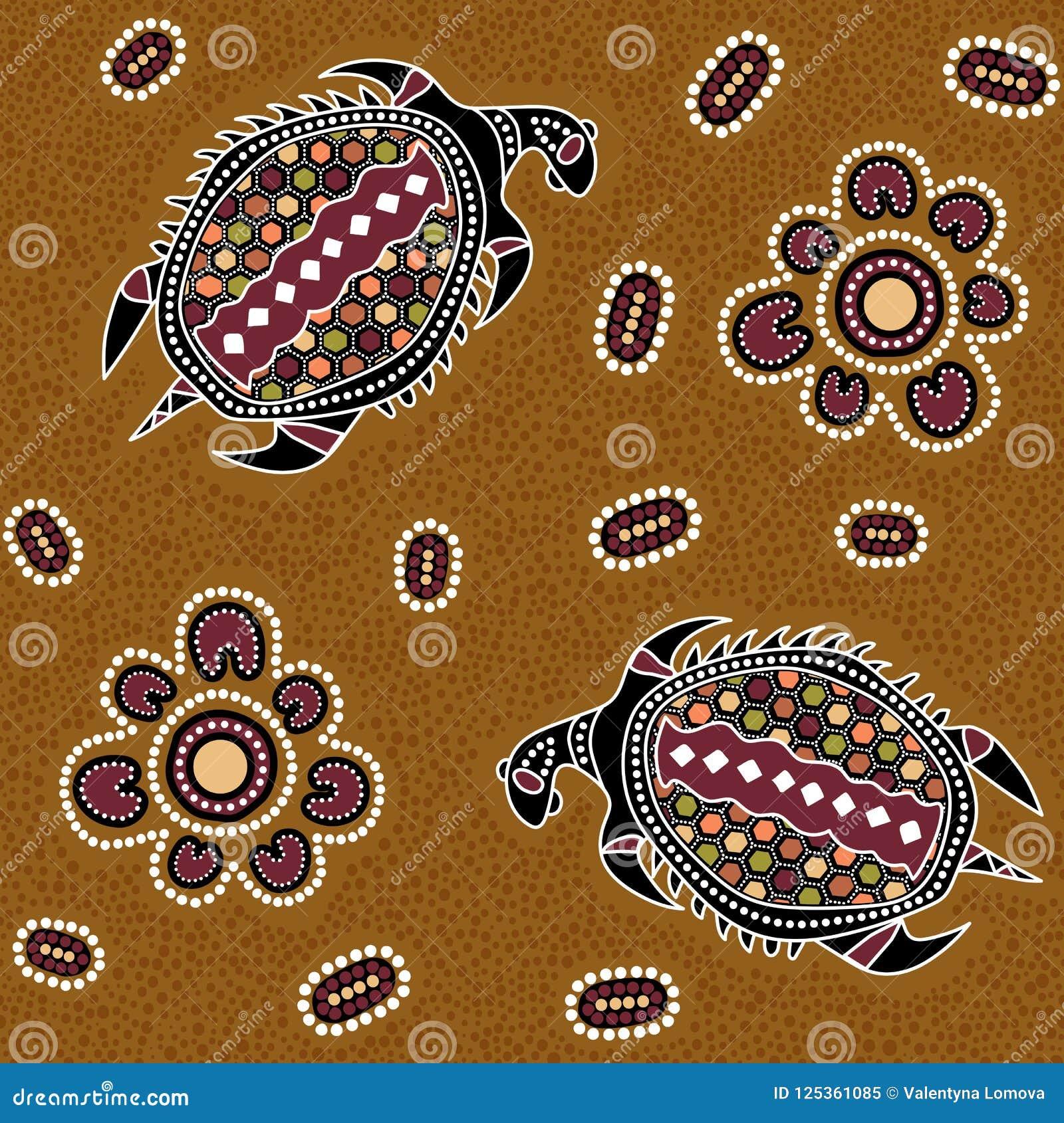 Australijski tubylczy bezszwowy wektoru wzór z kropkowanymi okręgami, owalami, żółwiami i innymi elementami,