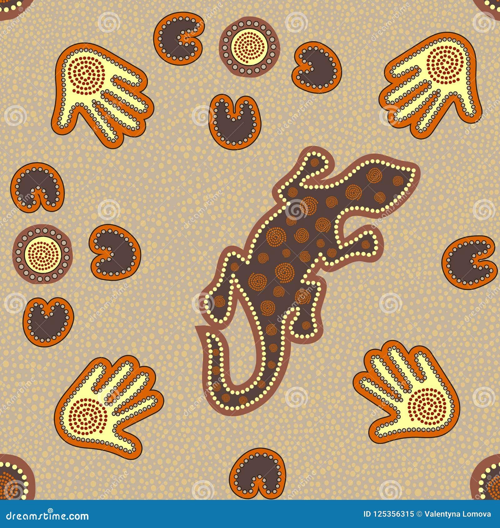 Australisch inheems naadloos patroon met gestippelde cirkels, hagedis, palmen, boemerangen en spiralen