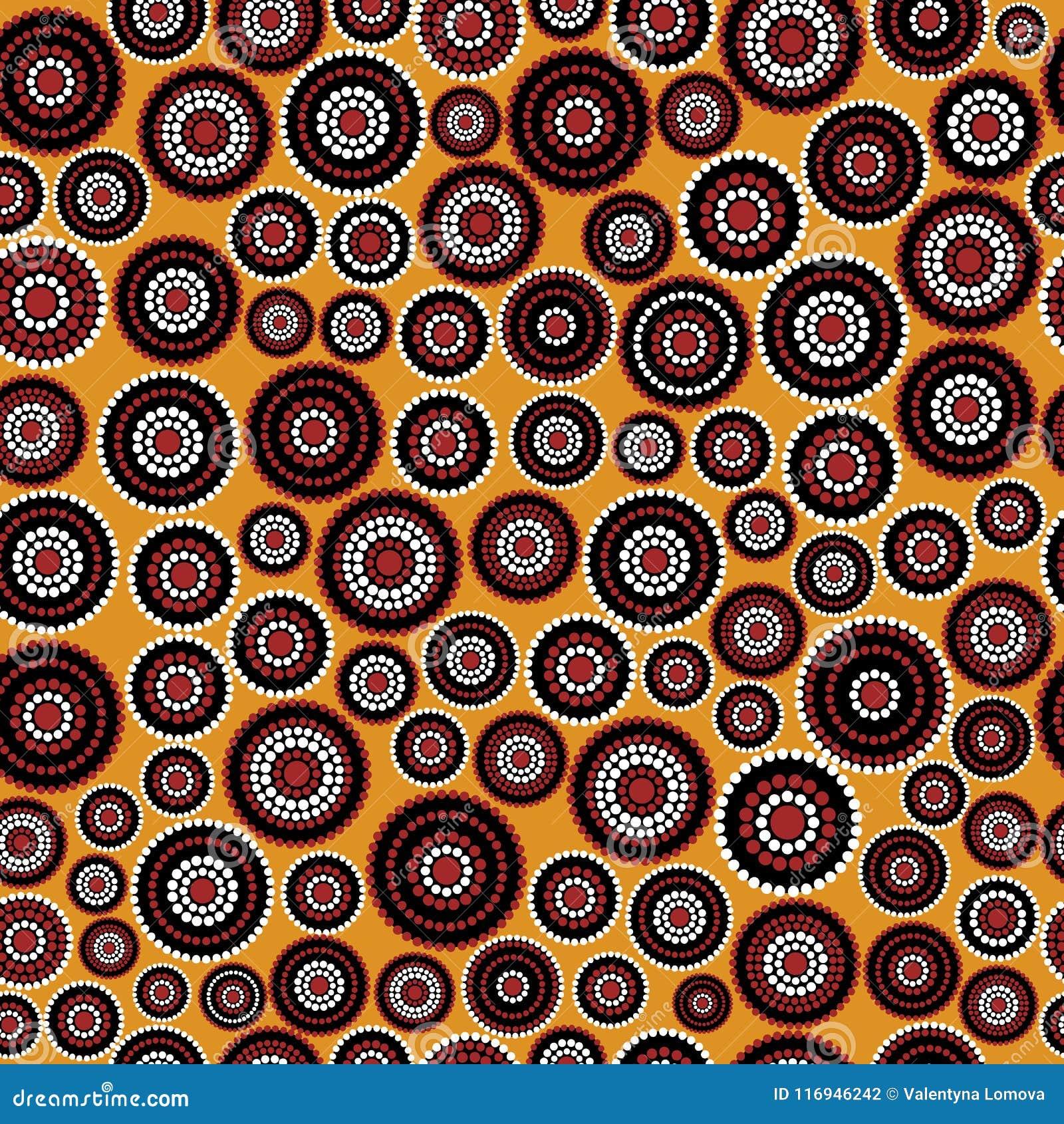 Australisch inheems naadloos vectorpatroon met gestippelde cirkels