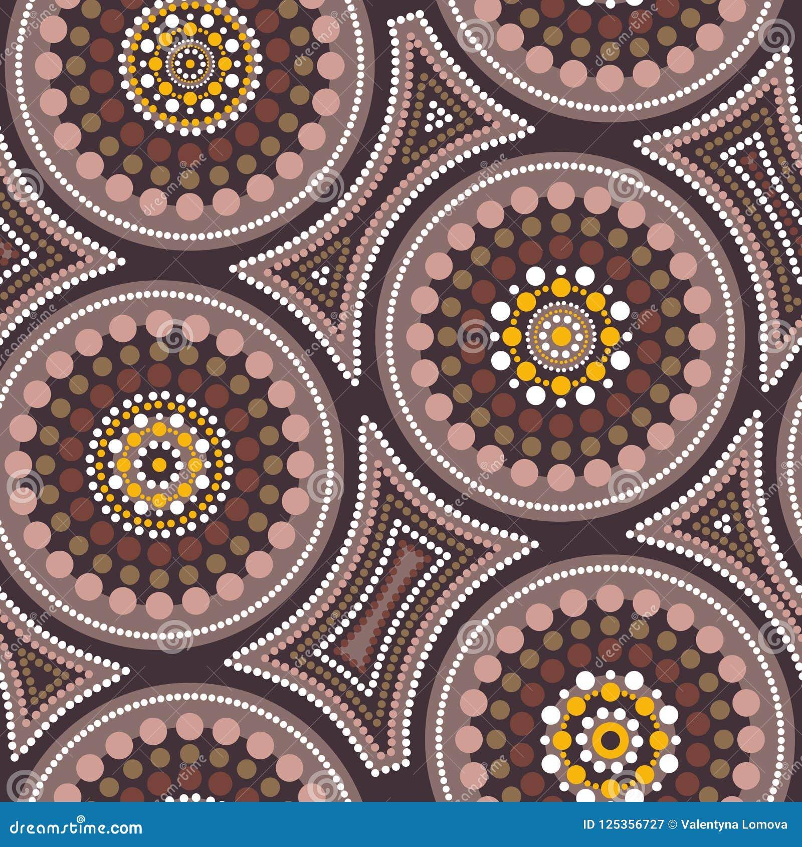 Australisch inheems naadloos vectorpatroon met gestippelde cirkels en bochtige vierkanten
