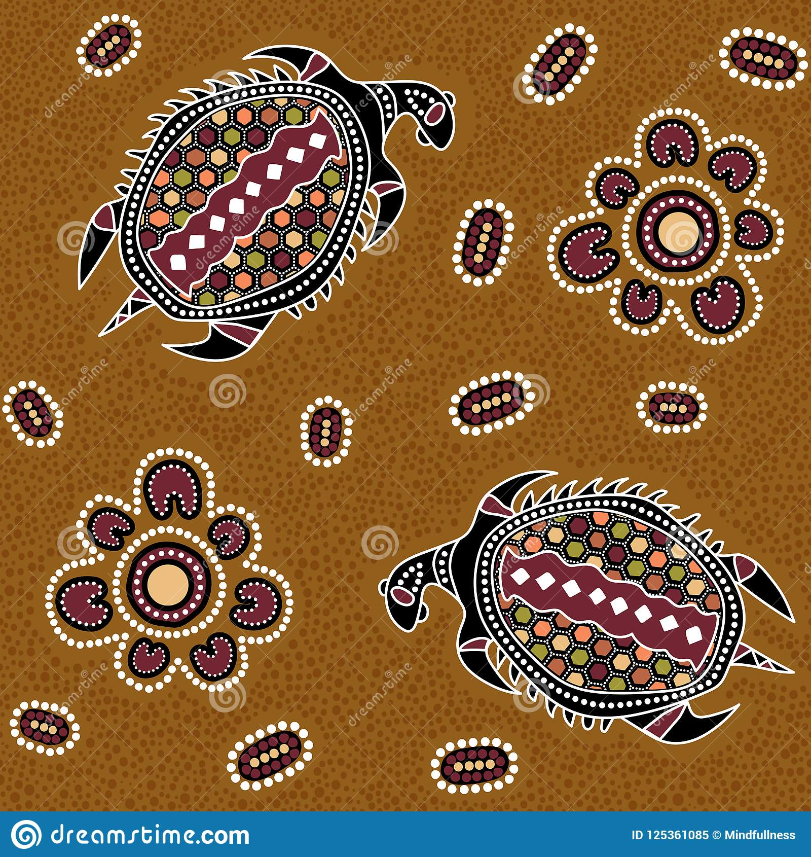 Australisch inheems naadloos vectorpatroon met gestippelde cirkels, ovalen, schildpadden en andere elementen