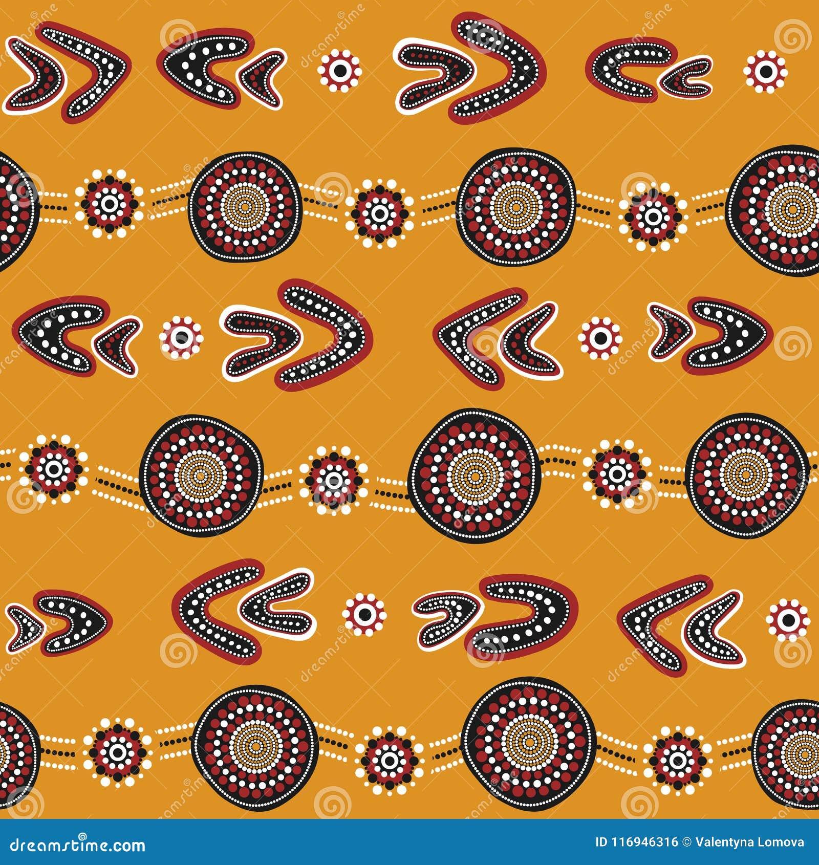 Australisch inheems naadloos vectorpatroon met gestippelde cirkels, ringen, boemerangen en golvende strepen