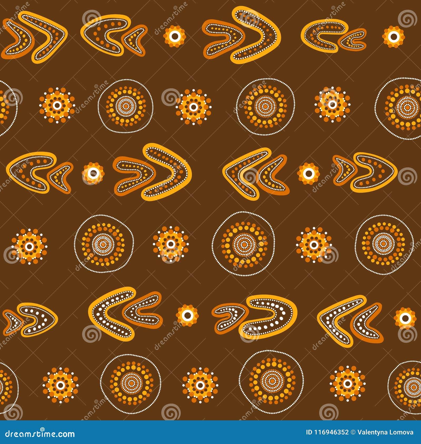 Australisch inheems naadloos vectorpatroon met gestippelde cirkels, ringen en boemerangen