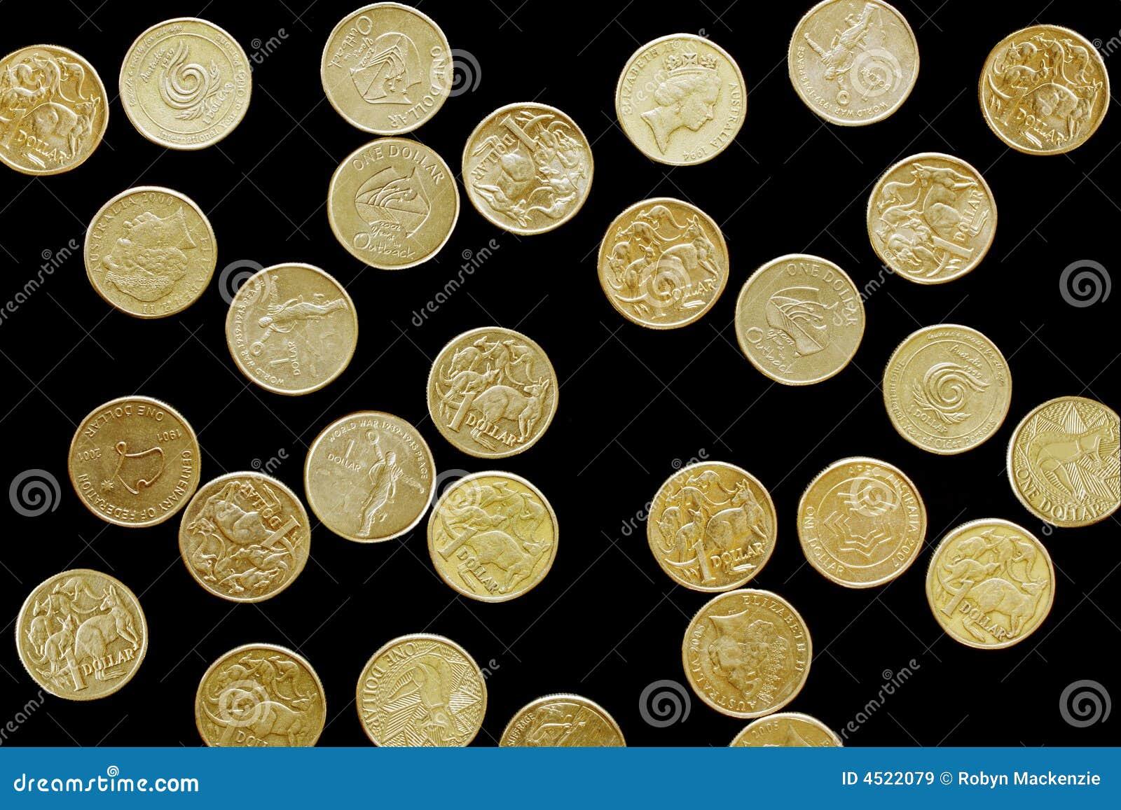 Australische Dollar Auf Schwarzem Stockbild Bild Von Hintergrund