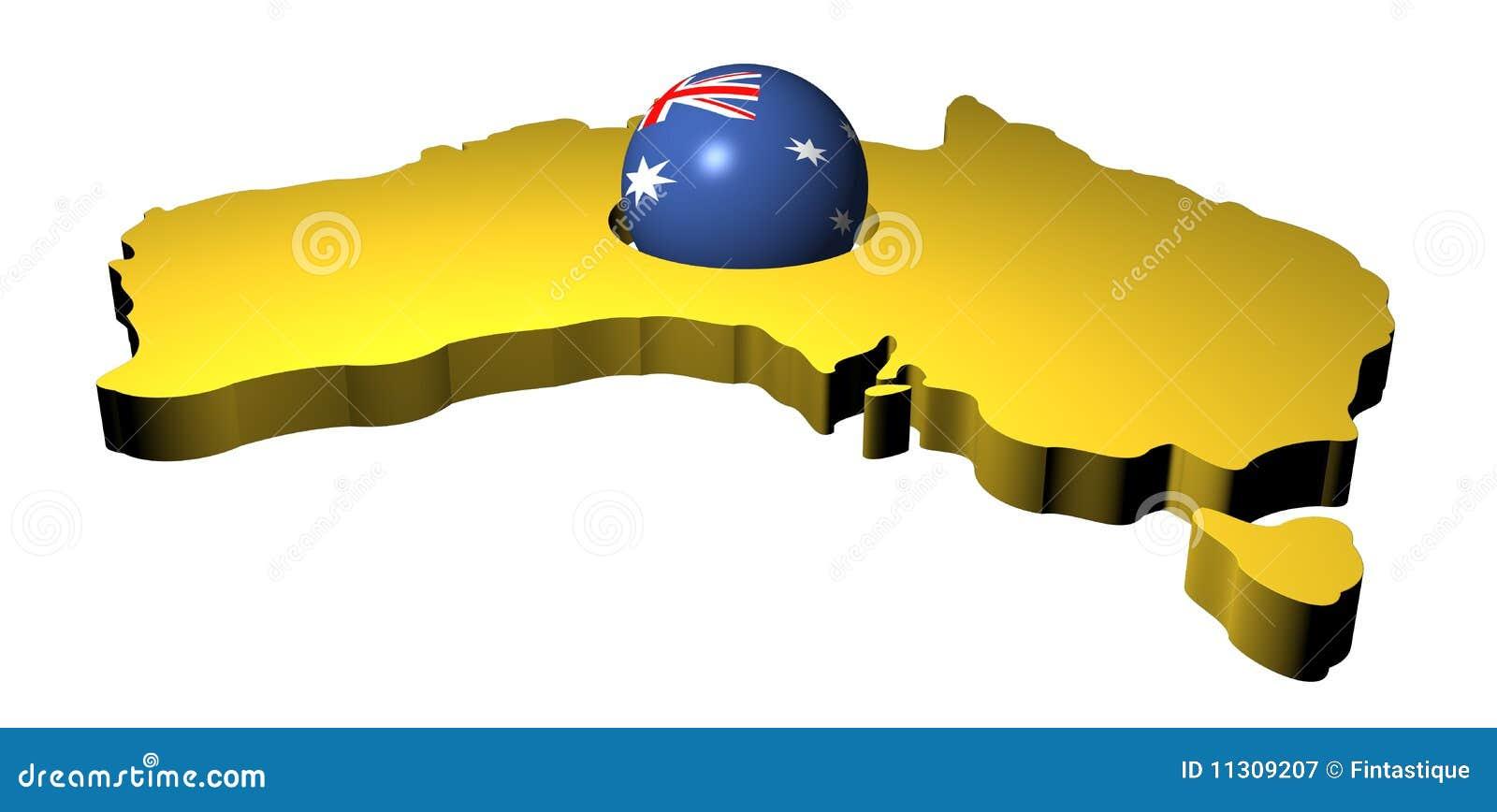 Australische Markierungsfahnenkugel mit Karte