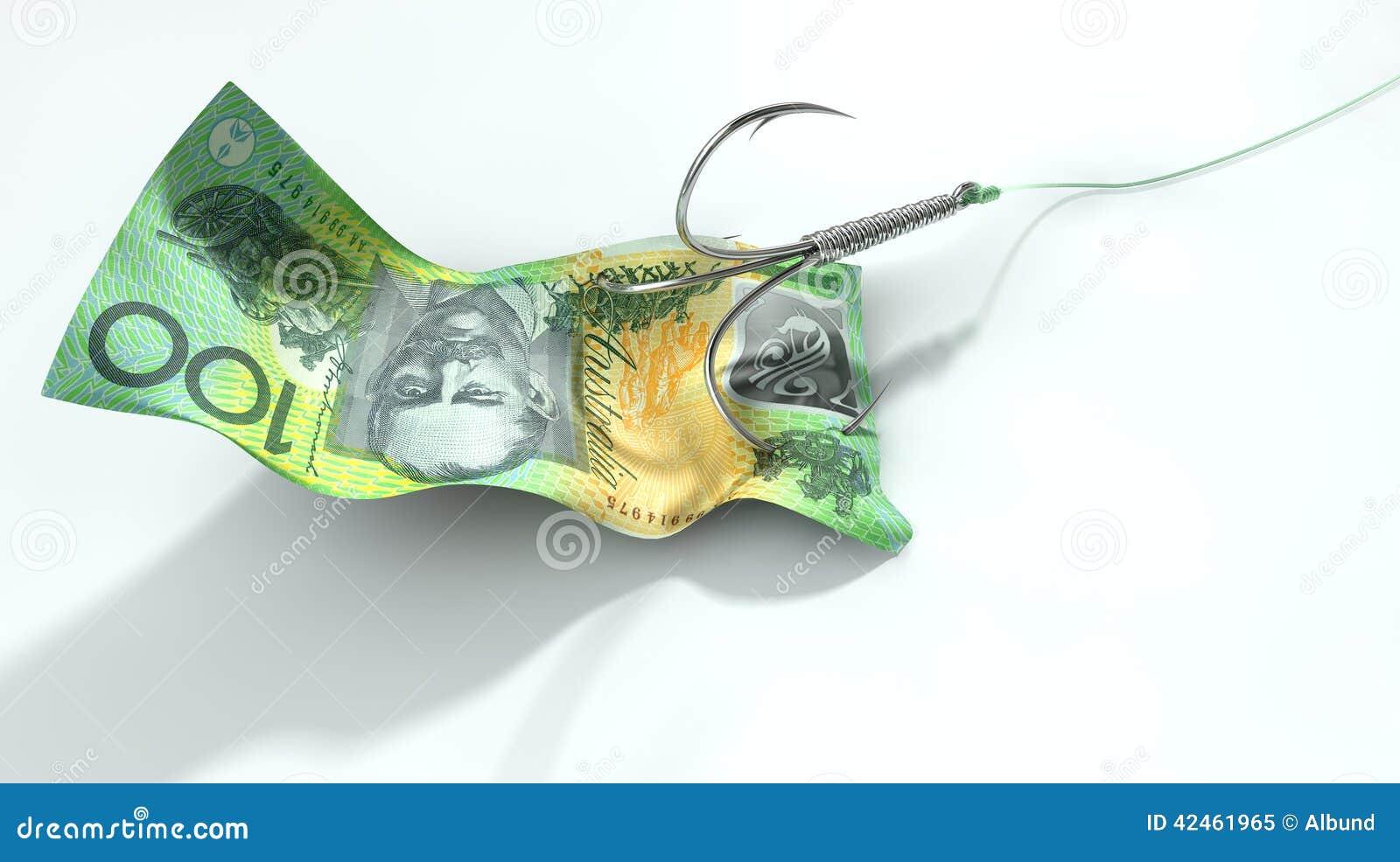 Australischer Dollar-Banknote angelockter Haken