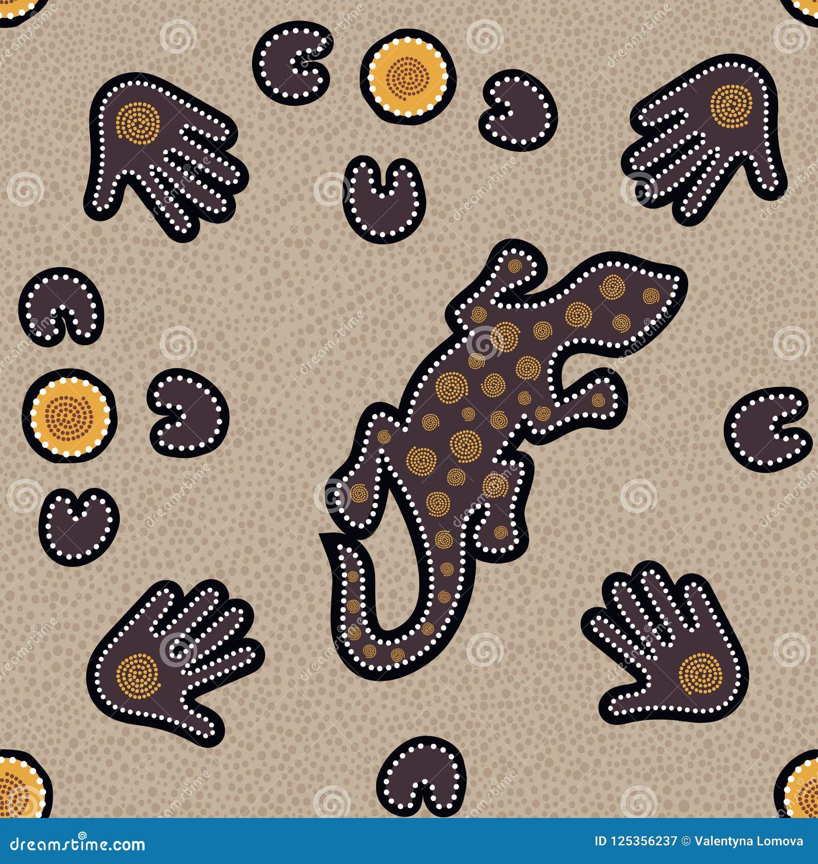 Australisches eingeborenes nahtloses Muster mit punktierten Kreisen, Eidechse, Palmen, Bumerangs und Spiralen