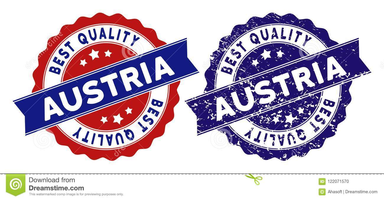 Austria Stamps With Best Quality Text Blue Grunge And Red Clean Versions Vector Seal Imprint Imitation Texture