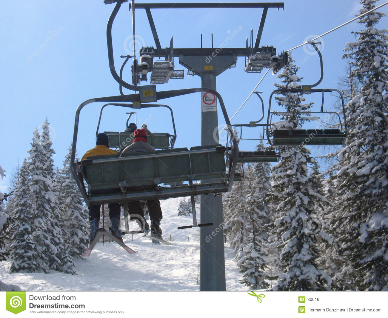 Austria chair lift skiing