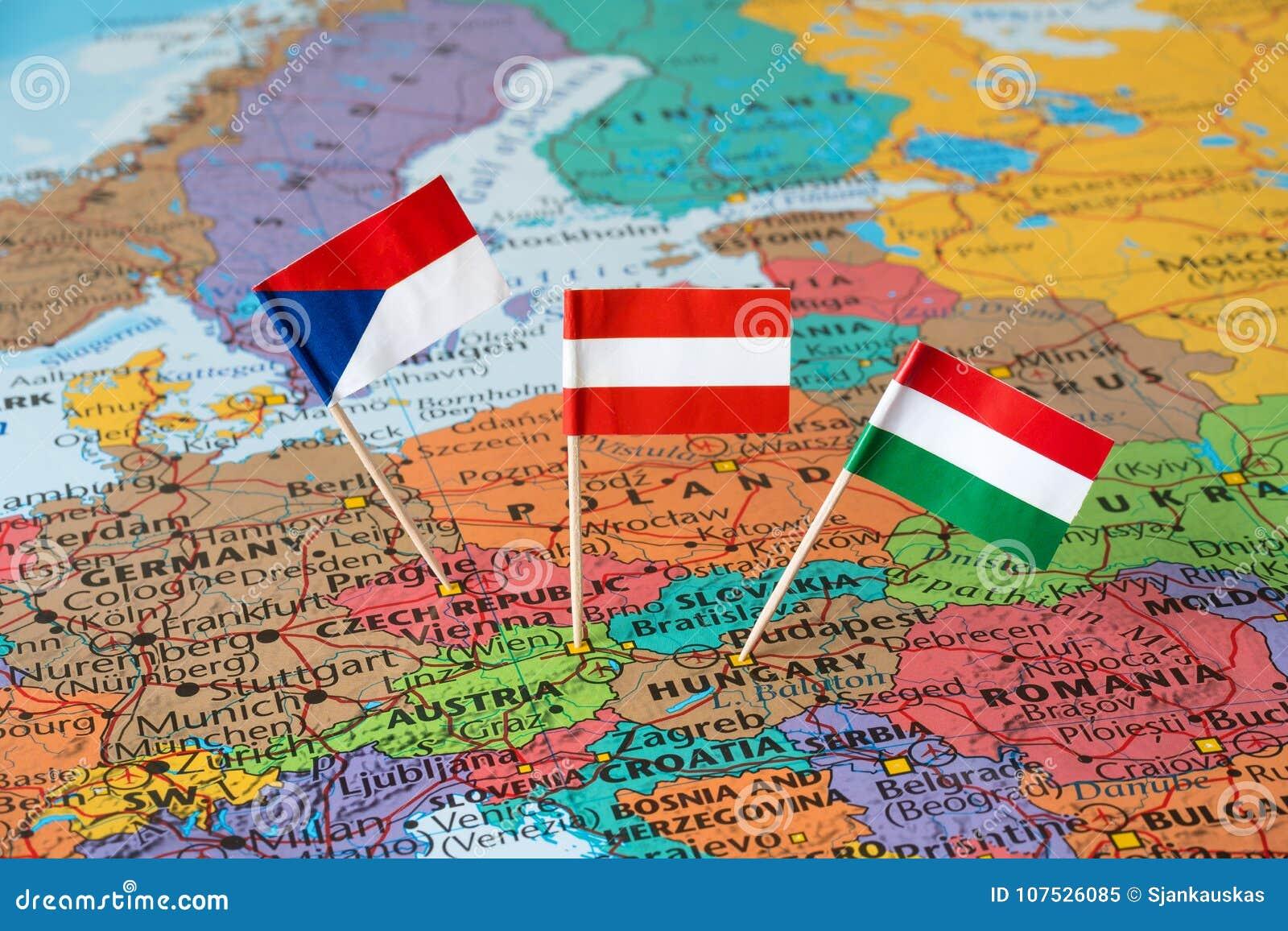 Austria, Czech Republic, Hungary Flag Pins, Central Europe Map Stock ...
