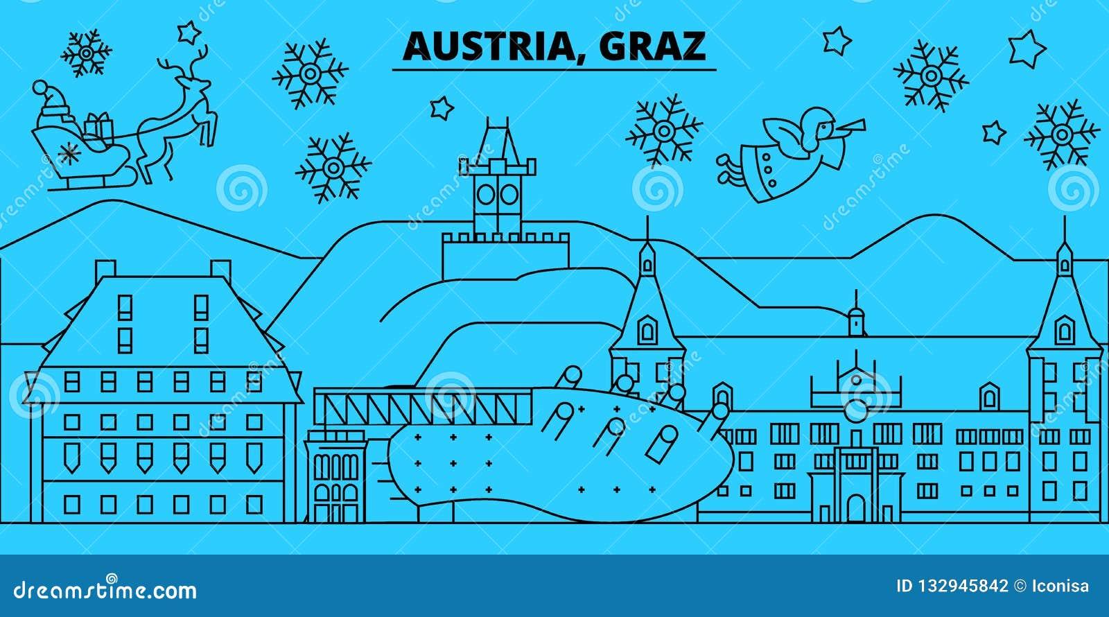 Christmas In Austria Holidays.Austria Graz Winter Holidays Skyline Merry Christmas