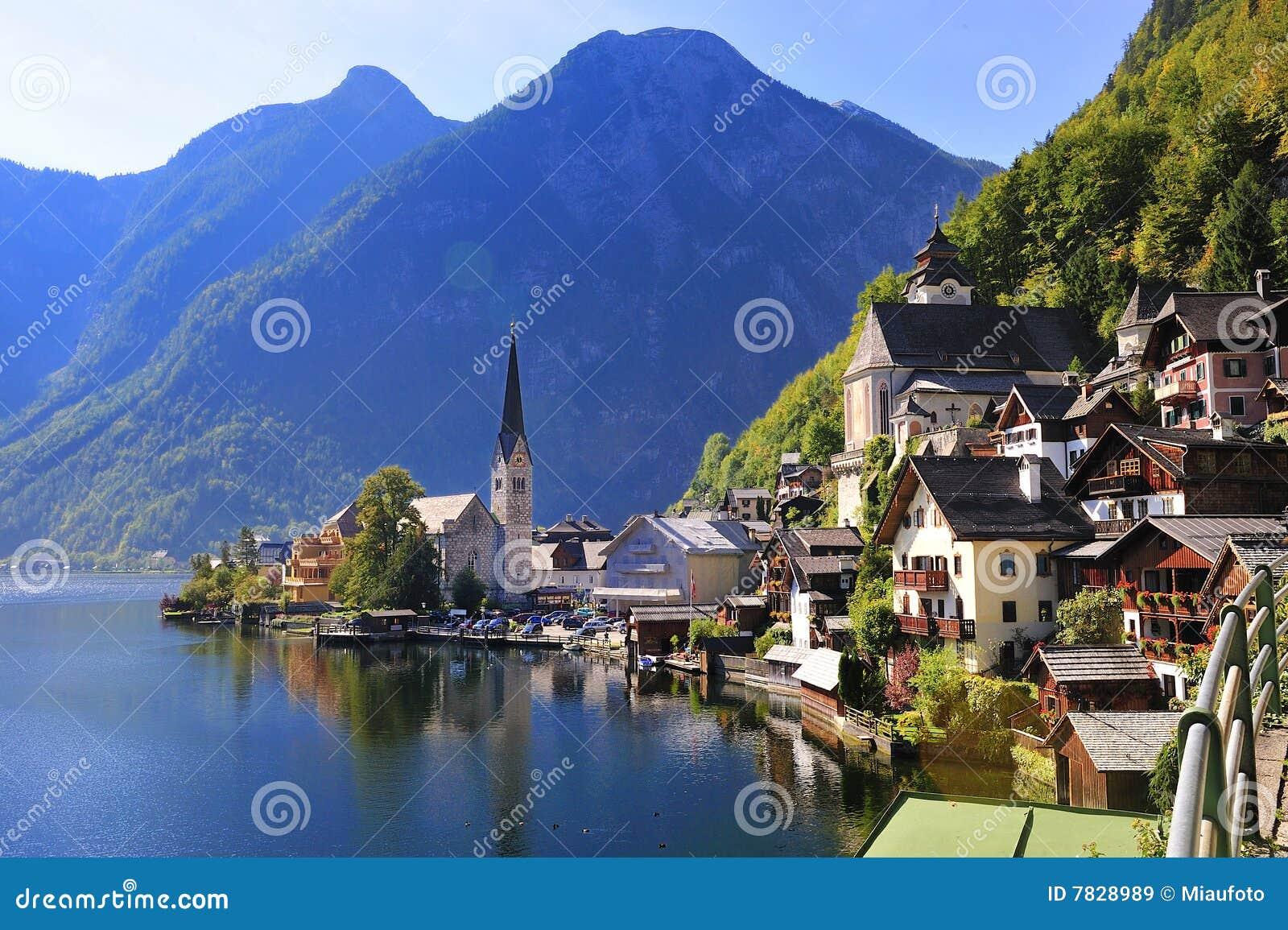 Austria Hallstatt Beautiful Lake View Hallstattlak Royalty Free Stock ...