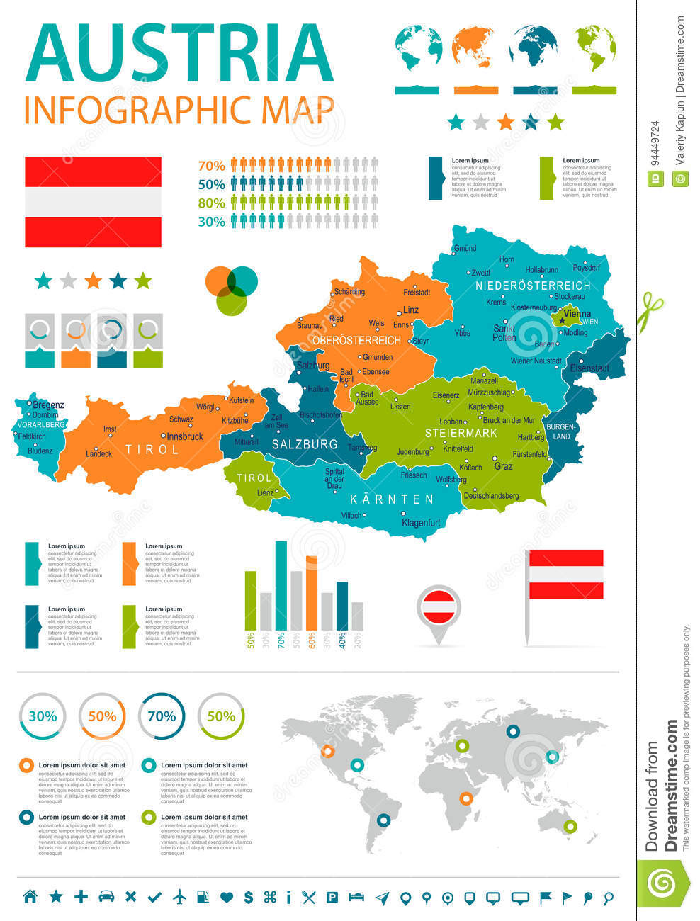 Austria Infographic Map And Flag Illustration Stock Illustration