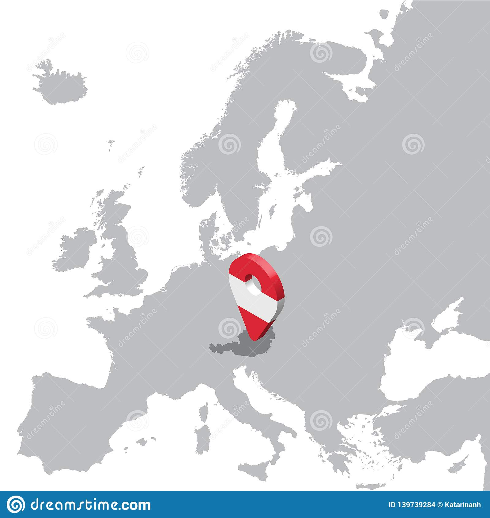 Austria Location Map on map Europe. 3d Austria flag map marker location pin. High quality map Austria.
