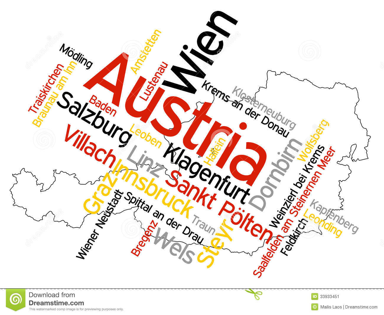 Austria Map And Cities Stock Vector Image Of Innsbruck - Austria map