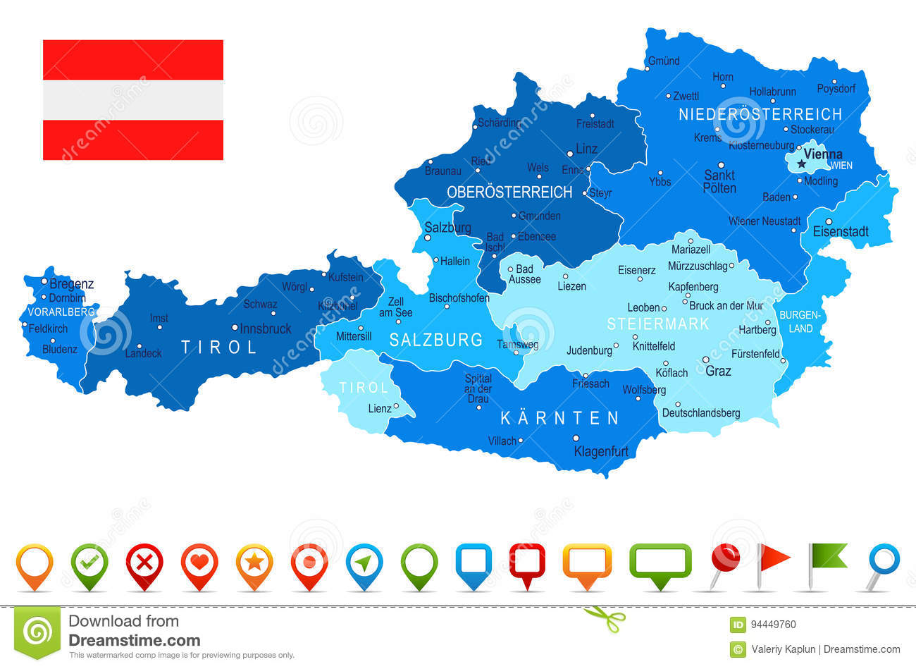 Austria Map And Flag Illustration Stock Illustration
