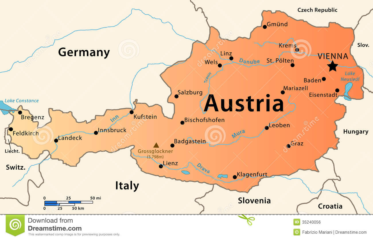 Austria Map Royalty Free Stock Image Image - Austria major cities map