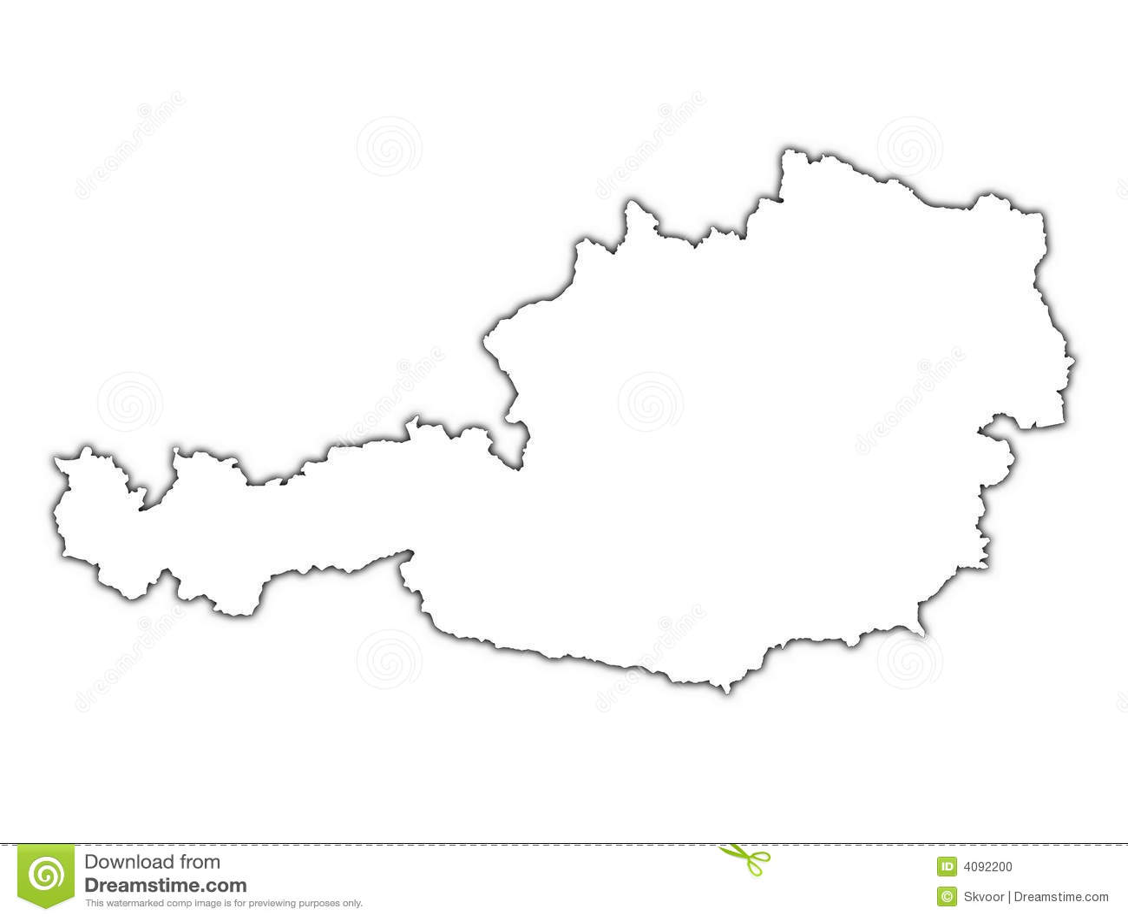 austria map with shadow stock photo