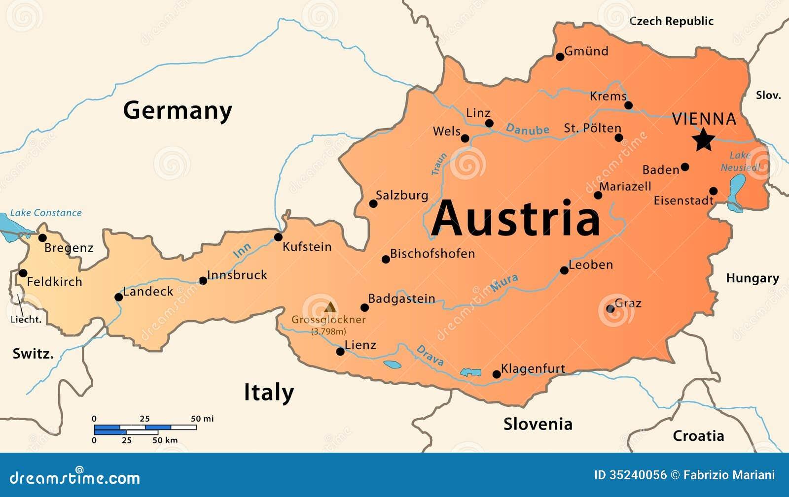 Austria Mapa Ilustracji Ilustracja Zlozonej Z Danube 35240056