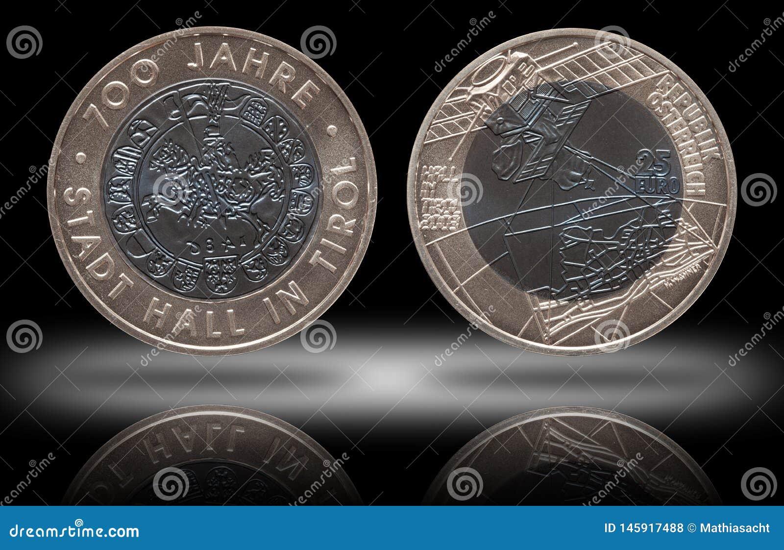 Austria osrebrza niob monetę 25 dwadzieścia pięć euro wybijali monety 2003