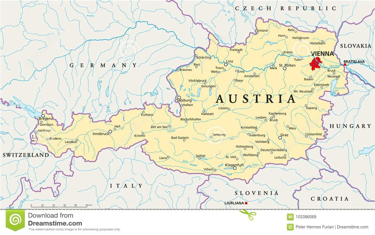 Picture of: Austria Political Map Stock Vector Illustration Of Lake 103386069