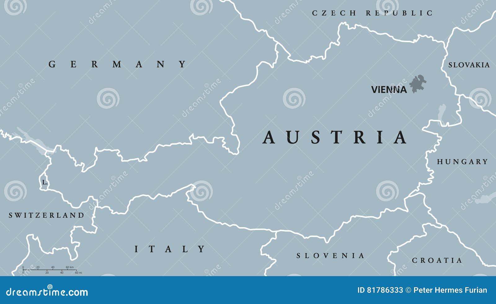 Austria Political Map Gray Colored Stock Vector Image - Political map austria