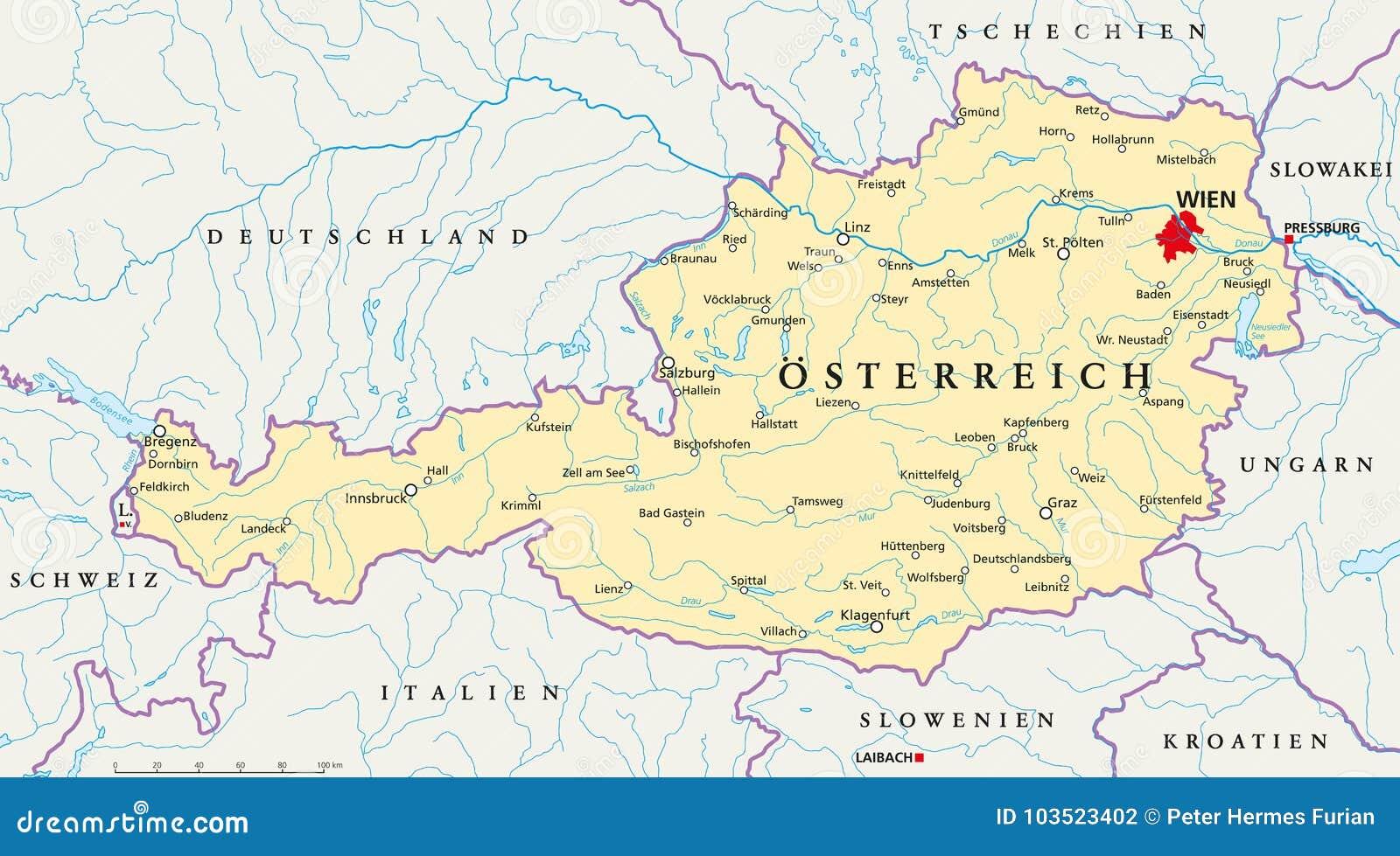Austria Politycznej Mapy Niemiecki Etykietowanie Ilustracja Wektor