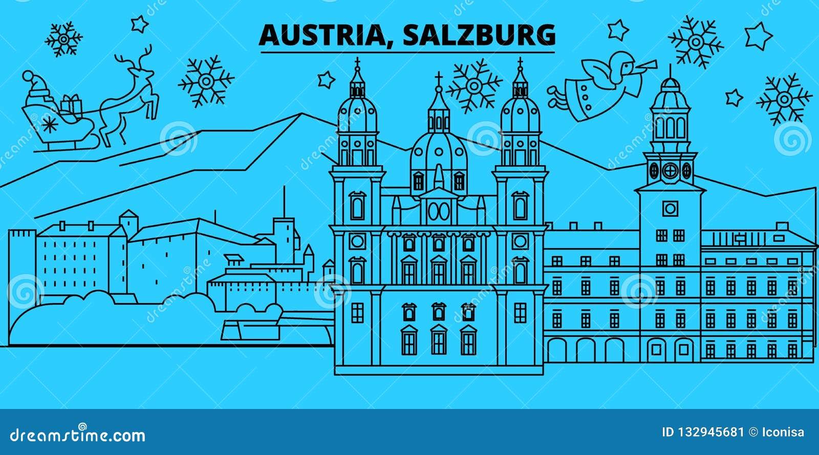 Christmas In Austria Holidays.Austria Salzburg Winter Holidays Skyline Merry Christmas