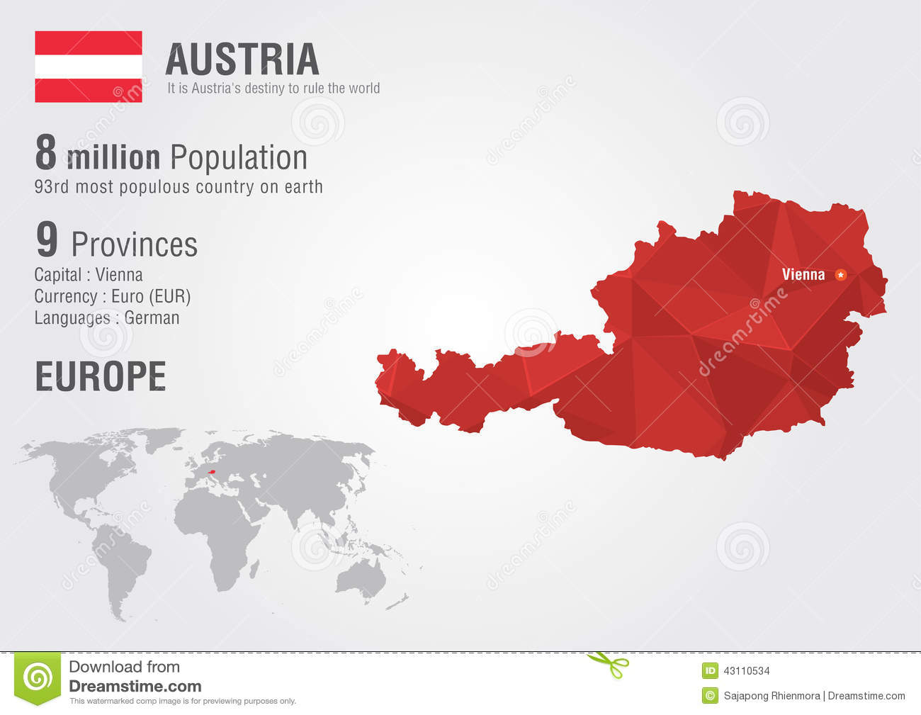 Austria World Map With A Pixel Diamond Texture Stock Vector - Vienna austria on world map